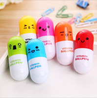 Wholesale Wholesale Childrens Products - Novelty Pill Retractable Ball Point Pen Cute Vitamin Ballpoint Pens Creative Stationery Childrens Gifts Office Supplies Promotion Products