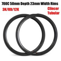 Hot Sale Carbon Road Bike Rim 700C 50mm Profundidade 23mm Largura 445g-475g 3K UD Matte Glossy Clincher Tubular 16-32 Buracos Bicicleta Rim
