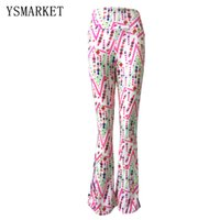 Wholesale Bell Bottom Dance Pants - Hot New Women Bell Bottom Pants High Waist Print Long Trousers 2017 Plus Size XL Casual Dance Full Length Pants Trousers 1812