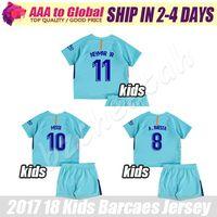 Wholesale Boy Top Quality - Kids SUAREZ Soccer Jersey 2017-18 Camiseta de futbol Children MESSI NEYMAR JR jersey La Liga kids football shirt top Thai Quality