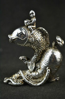 Wholesale Wood Fish Carving - Exquisite China Handwork Old Miao Silver Ginseng Fish Kid Statue