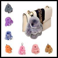 Wholesale Jade Key Chain - New Pendant Bunny 13cm 18cm Rex Rabbit Fur Handbag Keychain Pom Poms Key Chain Xmas Gift 40 Colors