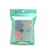 мягкая лицевая губка оптовых-4pcs/Bag Cosmetic Puff Heart-shaped Make Up Sponge Face Soft Makeup Foundation Contour Facial Sponges Powder Puff