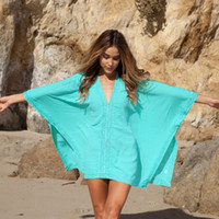 Wholesale Cover Ups For Women Wholesale - Swimwear Womens Sarong Bathing Cotton Suit Beach Bikini Beach Wear Plus Size Swimsuits For Women Beachwear Dress Cover Ups Bikini V neck
