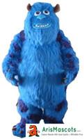 caçoa desenhos animados caráter mascote venda por atacado-100% real fotos Engraçado adulto Sully Monster Dress traje da mascote personagem de desenho animado mascotes trajes de fantasias crianças carnaval vestido de festa