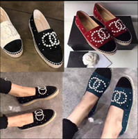 Wholesale Lambskin Leather Shoes - Famous Fashion luxury Brand Pearls Espadrilles Top Quality 2017 Real Lambskin Women Flat Shoes Pearl Espadrilles Size EUR35-42 with Box