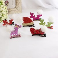 Cute Christmas Baby Kids Clips de cheveux Deer Hairpins Accessoires BB Hair Ornements Bows Hairclip Kids Gift
