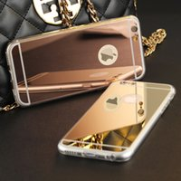 Wholesale Iphone 4s Gold Mirror - High Quality Fashion Deluxe Electroplating Mirror TPU Clear Soft Phone Case Cover for iPhone 4 4S 5 5S 6S 6 7 Plus Case Cover