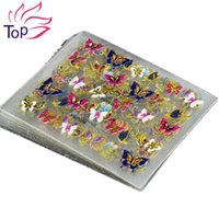Wholesale 3d Decals For Nails - 24Pcs in 1 Large Size Sheet Moon Butterfly Animal Pattern For Stamping 3D Nail Sticker Charms Bronzing Nail Art Decal JH130