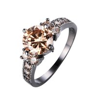 Wholesale Champagne Wedding Jewelry - JUNXIN Male Female Champagne Round Ring Fashion Black Gold Filled Jewelry Vintage Wedding Rings For Women Birth Stone Gift