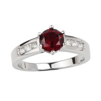 ingrosso anello d'argento rosso granato-Genuine Red Garnet 925 Silver Ring Women Jewelry 6.0mm Crystal Wedding Band Gennaio Compleanno Birthstone Gift per Lover R034RGN