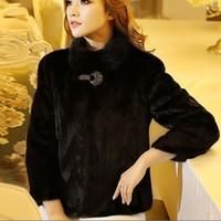 Wholesale Marten Collars - Large Size 5XL 6XL Faux Fur Bolero Jacket For Women Warm Winter Rabbit Fur Coats Mink Marten Fur Coat Overcoat Stand Collar