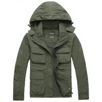 ceket dhl toptan satış-Erkek Marka AFS JEEP Açık Ceket Erkekler Sonbahar Askeri trençkot sonbahar kalın pamuk giyim chaquetas jaqueta 2 adet Ücretsiz DHL / Fedex