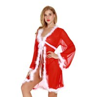 frauen schiere intimiert großhandel-Christmas Holiday White Fuzzy Pelzbesatz Red Kimono Robe mit Panty Set Frauen Sexy Santa Intimate Apparel Dessous Sheer Lacy Nachtwäsche Robe