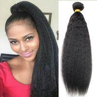 Wholesale yaki perm human hair online - 8A Grade Mink Afro Kinky Straight Hair Brazilian Hair Bundle Coarse Yaki Human Hair or Kinky Straight Weave