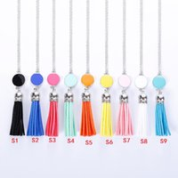 Wholesale Blank Accessories - Hot Cabochon Acrylic Disc Monogram Blanks Velvet Leather Tassel Necklace Fashion Jewelry Long Chain Sweater Necklace Accessories