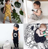 Wholesale White Sleeveless Onesies - 2017 Baby Summer Rompers INS Infant Toddlers Stripe Print Long Pants Onesies Jumpsuit Baby Boys Girls Sleeveless Climb Rompers 4 Styles