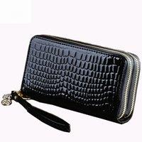 Wholesale Cardholder Wholesalers - Wholesale- Luxury Long Women Wallet and Purses Alligator Patent Leather Double Zipper Cardholder Ladies Large Capacity Clutch Sac a main