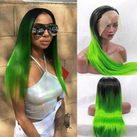 Wholesale Synthetic Wigs Medium Length - Ombre hair glueless lace front wig baby hair 1b# green free part lace 3-4inch perruque lace front synthetic medium length 22inch