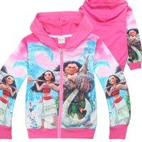 Wholesale Girls Jacket Multi Zippers - 2017 Autumn Jacket For Girls Moana Pricess Coat Children Clothing Zipper Hooded Jacket Girls Sweatshirt Hoodies For Girl Outwear