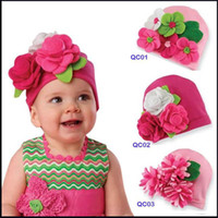 Wholesale Knitting Kids Hats Design - NEW designs baby hats baby cute hats kids cap Baby flower knitted cap infant hats