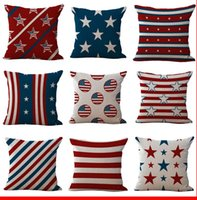 Wholesale American Flag Throw - American National Flag Old Glory Pillow Case Cushion cover Linen Cotton Throw Pillowcases sofa Bed Car Decorative Pillowcover
