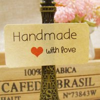 Wholesale Personalize Clothing Label - Wholesale- 200pcs retangular handmade custom sticker label with love for personalized wedding gift clothing chalkboard DIY Gift tags labels