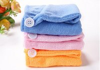 Wholesale Hair Drying Towel Cap - 1000pcs High Quality Microfiber Magic Hair Dry Drying Turban Wrap Towel Hat Cap Quick Dry Dryer Bath make up towel