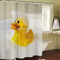 Wholesale Rubber Curtains - Wholesale- Rubber Duck Bathroom Fabric Shower Curtain bath curtain bath screen waterproof w  shower hooks