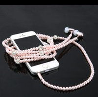 Wholesale Diamond Headphone Plug - Fashion Bling Diamond Pearl Necklace Earphones 3.5mm Plug In-ear Headphone With Mic Hi-Fi Wired Stereo headset For Smart Phone