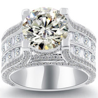 Wholesale Natural Diamond Ring White Gold - 6.18 K-VS2 Certified Natural Round Diamond Engagement Ring 14k White Gold