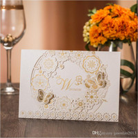 Wholesale Elegant Wedding Invitations Butterfly - Elegant Gold White Wedding Invitations 2017 Laser Cutting Flower + Butterfly Marriage Invitation Cards with Envelope 50pcs Wedding Supplies