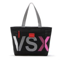 Wholesale Fashion VSX Letter Handbags Secret VS Shoulder Bags Women Love Large Capacity Travel Duffle Striped Waterproof Beach Bag Shoulder Bag