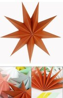 Wholesale paper hanging star - Hot 30cm 6'' Nine Angles Paper Star Decoration Tissue Paper Star Lantern Hanging Stars For Christmas Party Decoration