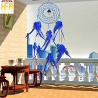 Compra Ornamenti Di Piuma-Sogno Catcher Metal Chimes Hangings Dream Catcher Sapphire Blue Ornamenti Feather Decorazione creativa Wind-bell per la casa Decorazione auto