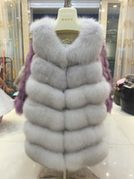 Wholesale Red Fox Vest - real fox fur vest full pelt fox fur vest women coat natural fox fur six section