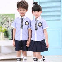Wholesale Summer Striped Shirts For Boys - 2017 Latest Trendy Popular Kids High quality Summer Suit T-shirt+Pants 2Pcs For Children Boys And Girls Suit