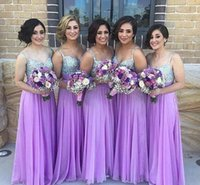 Wholesale Lilac Strapped Bridesmaid Dresses - 2017 New Purple Long Chiffon Bridesmaid Dresses Spaghetti Straps Sleeveless Floor Length Sequined Top Bridesmaid Gowns