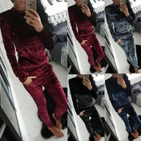 Wholesale Two Piece Dresses Diamond - Autumn Suit-dress Diamond velvet Women's Sweater Trousers Two Pieces Set Suit hoodies top skirt pants sportwear ladies tracksuit