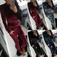 Wholesale velvet sweater dress - Autumn Suit-dress Diamond velvet Women's Sweater Trousers Two Pieces Set Suit hoodies top skirt pants sportwear ladies tracksuit