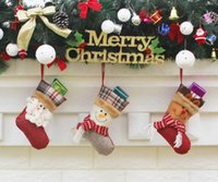Wholesale Christmas Socks Decorate - 2017 new 9 sytle Christmas stocking Christmas ornaments Christmas decorations for Santa Claus decorated with socks wholesale