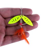 jig wobbler achat en gros de-5pcs de jaune en métal cuillère leurre de pêche avec des paillettes plume dur appât artificiel appât wobbler pesca pêche spinnerbaits s'attaquer crochets