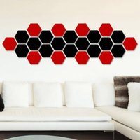 Wholesale acrylic crystal 3d art wall sticker online - Hot selling hexagonal mirror environmental protection acrylic wall stickers background wall decorated crystal three dimensional mirror