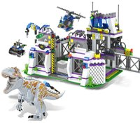 Wholesale Wooden Hot Blocks - Hot sale 8000 Jurassic World Park Dinosaurs Base Tyrannosaurus Escape Building Blocks Bricks Toys For kids Christmas Gift Legoings