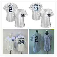 Wholesale Cheap White Ladies Shirt - Cool Base New York Yankees Women's Derek Jeter 2 Jersey White Pinstripe Grey Ladies 13 Alex Rodriguez 24 Gary Sanchez Female Shirt Cheap