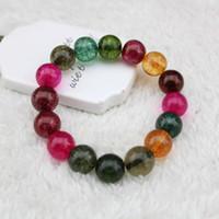 Wholesale Korean Women Beaded Bracelets - factory wholesale Exclusive frizzling crystal bracelet rainbow tourmaline agate bracelet handmade original Korean men and women lovers