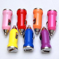 Para Iphone6 ​​USB Carregador de carro Colorido Bullet Mini Car Charger Carregador portátil Adaptador universal para Iphone 5 5S