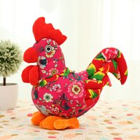 Wholesale Rooster Plush - Wholesale- 2017 New Year Gifts 35cm Lucky Rooster Plush Chicken Stuffed Animals Toys Chook Model Best Toys For Children Kids Girls WW16A