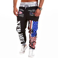Wholesale flag harem trousers resale online - Hip hop Style Summer Autumn Men s Pants Fashion Flag Appliques Casual Trousers Slim Fit Cool Harem pants