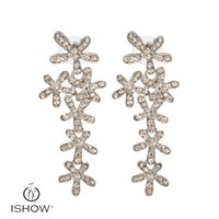 Wholesale Silver Plating Earrings Eardrops - New arrival Sliver snowflake stud earrings for women gold plated eardrops with Rhinestone best gift for lover